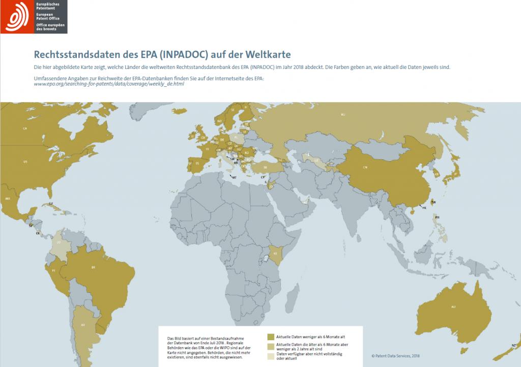 Weltkarte INPADOC-Rechtsstandsdaten des EPA