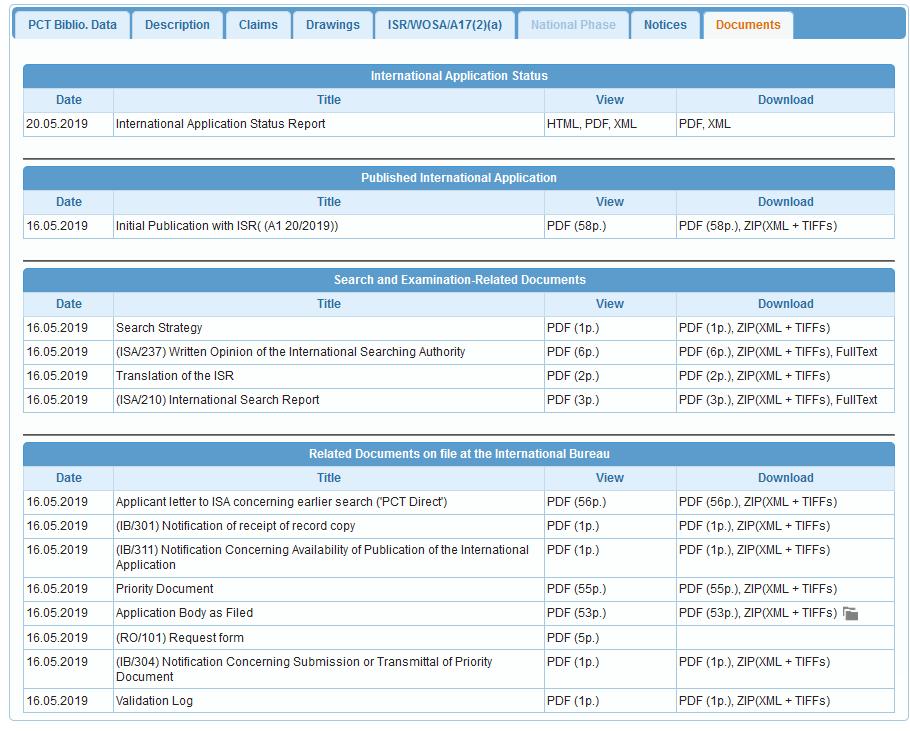 """patentscope: Reiter """"Documents"""" mit Dokumenten einer PCT-Anmeldung"""